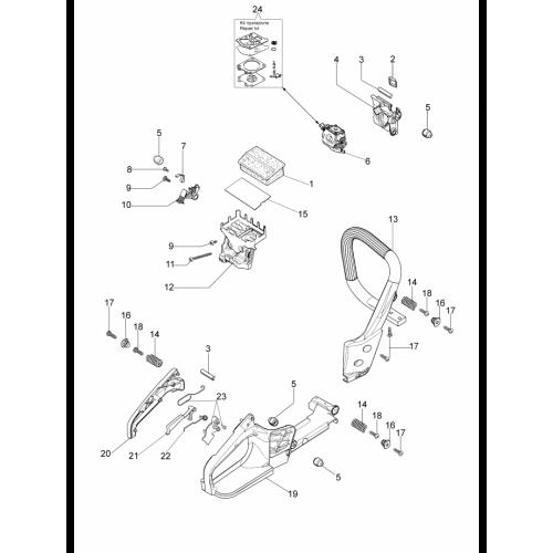 Бензопила Oleo-Mac, GS35C, Ручка і повітряний фільтр в Украине