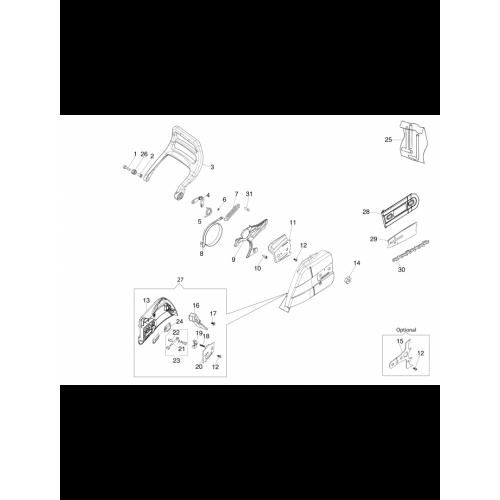 Бензопила Oleo-Mac, GS650, Гальма і кришка ланцюга в Украине